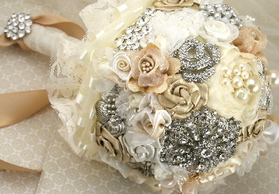 bouquet with diamonds and jewelry